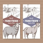 Two farm shop labels with farmhouse, barn, sheep and goat on white.