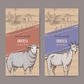 Two farm shop labels with farmhouse, barn, sheep and goat.