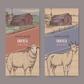 Two farm shop labels with farmhouse, color barn, sheep and goat.