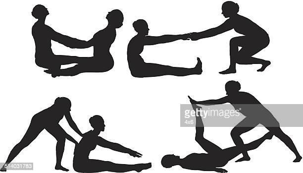 ilustraciones, imágenes clip art, dibujos animados e iconos de stock de dos bailarines en diferentes poses hembra - baile moderno