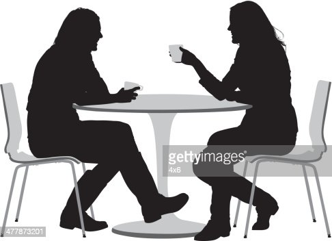 Two Female Friends Having Coffee Vector Art Getty Images