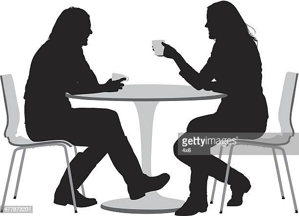 two female friends having coffee - laughing stock illustrations, clip art, cartoons, & icons