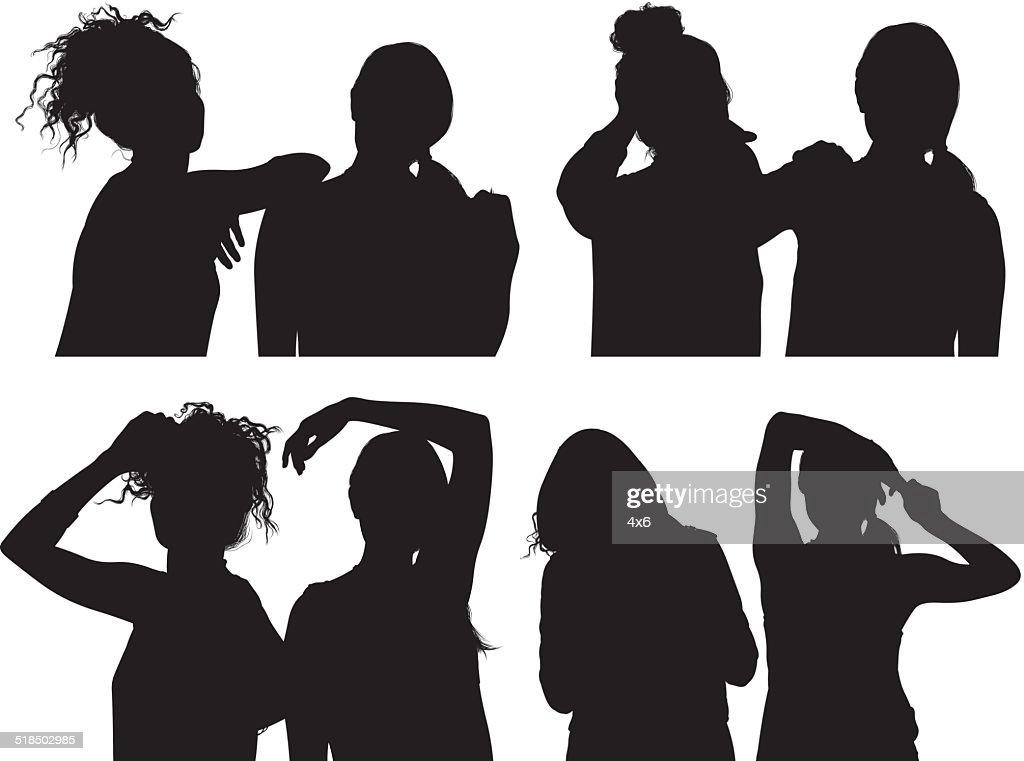 Two female friends : stock illustration