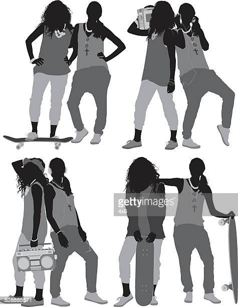 two females posing in hip hop style - sleeveless stock illustrations, clip art, cartoons, & icons
