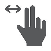 Two finger horizontal scroll glyph icon, gesture and hand, press sign, vector graphics, a solid pattern on a white background.