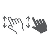 Two fingers zoom in line and glyph icon, gesture and click, hand sign, vector graphics, a linear pattern on a white background.
