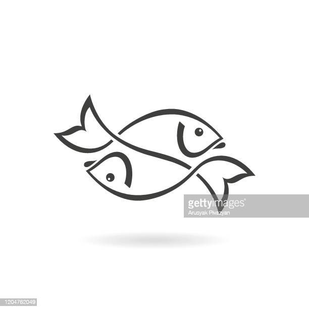 two fish icon - two animals stock illustrations