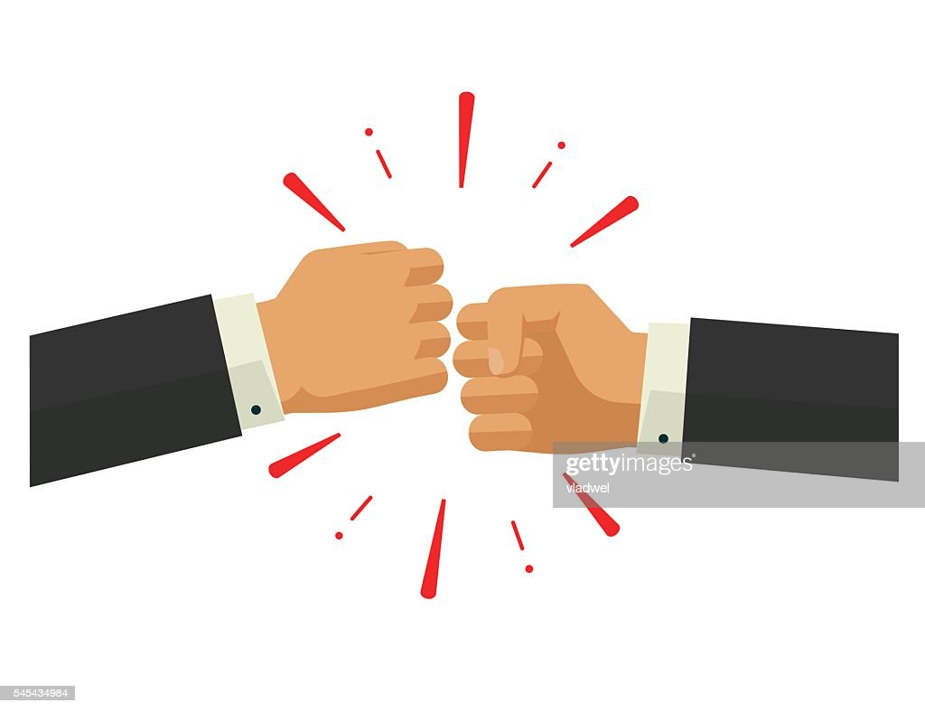 Two fists together vector, hands in air bumping, punching, fighting