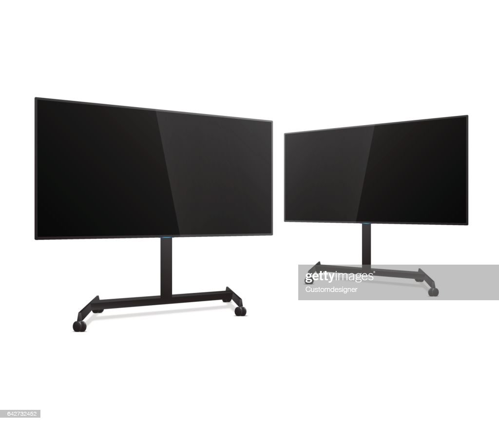 Two Flat Smart TV Mockups on the Floor Stand with wheels