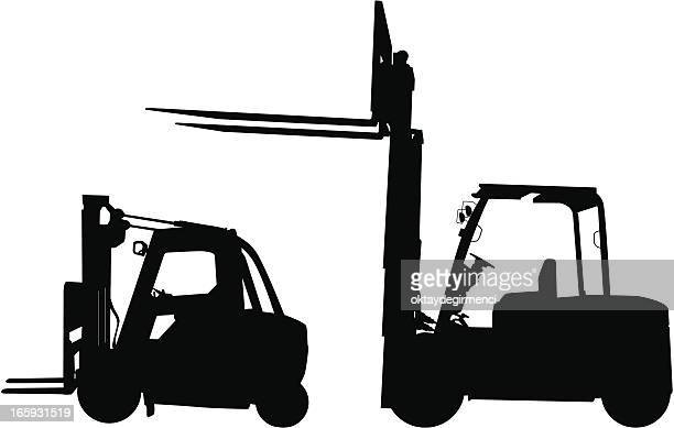 Two forklift icons in black with white background