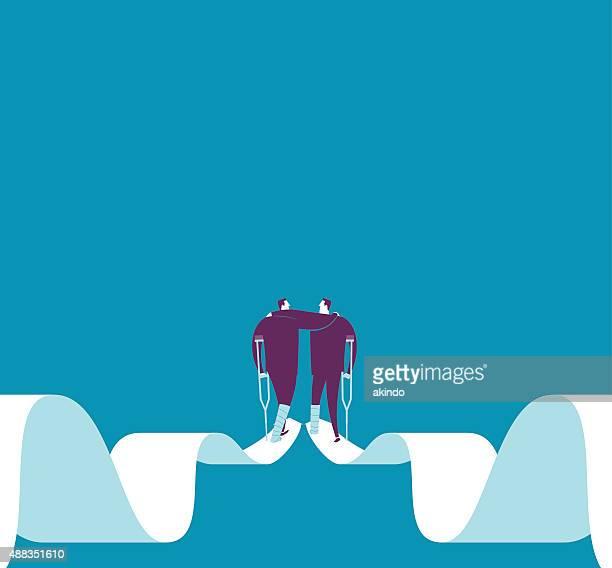 Fractura de dos ejecutivos ayudarnos mutuamente Manténgase en la flecha