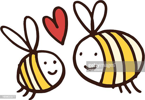 two friendly bees - bumblebee stock illustrations, clip art, cartoons, & icons