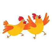 Two funny cartoon orange chickens, hens rushing, hurrying somewhere