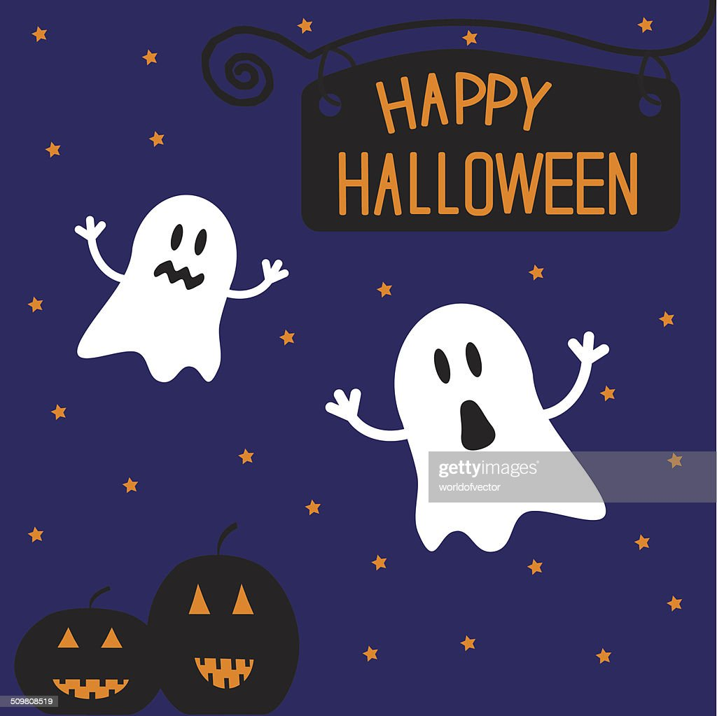 two funny halloween ghosts and pumpkins starry night card vector art