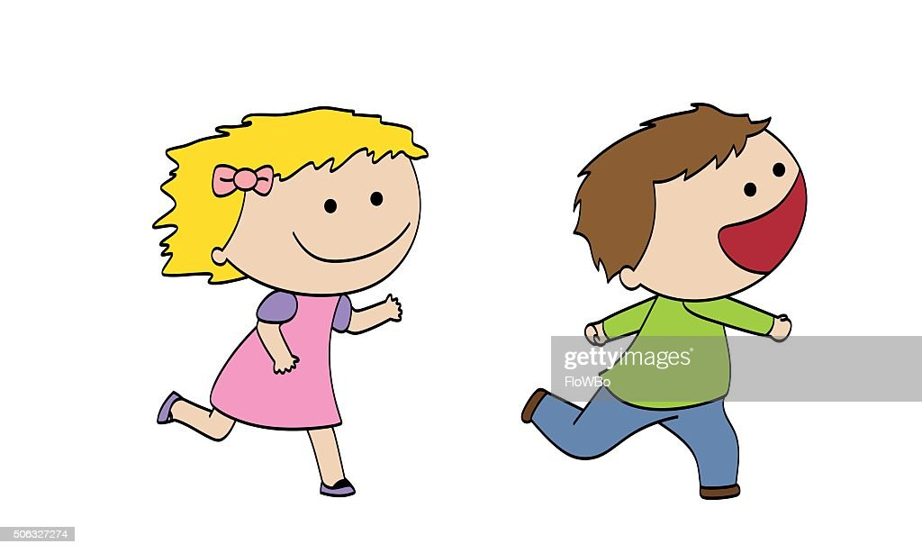 Two funny running children
