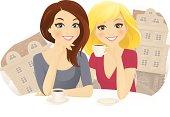 Two girl friends drinking coffee