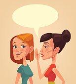 Two girls characters gossiping. Speech bubble