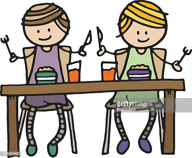 two girls eating - lunch break stock illustrations, clip art, cartoons, & icons