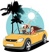 Two girls in a car on vacation