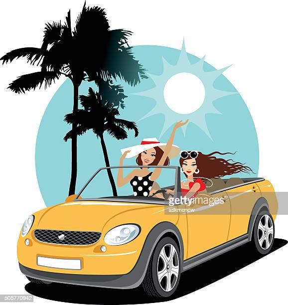 Deux filles dans une voiture en vacances