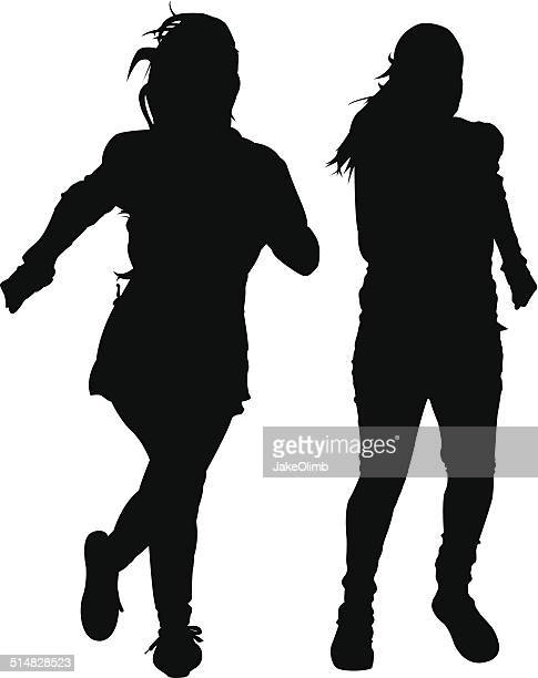 two girls running silhouette - women's track stock illustrations, clip art, cartoons, & icons