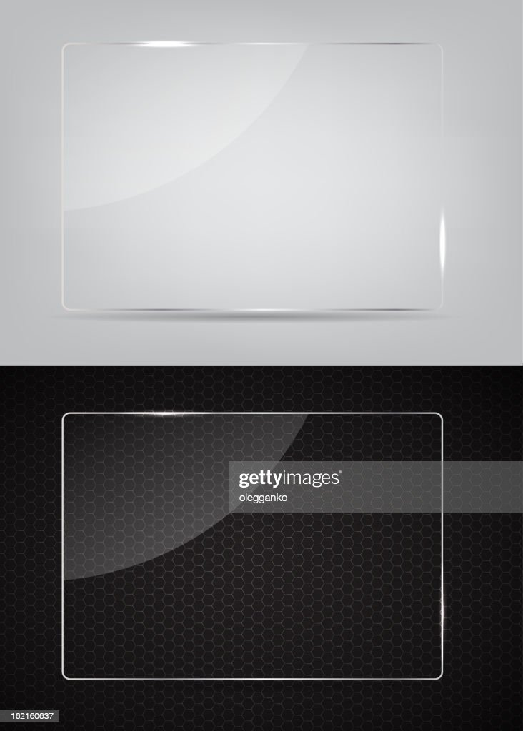 Two glass frames on an abstract black and white background