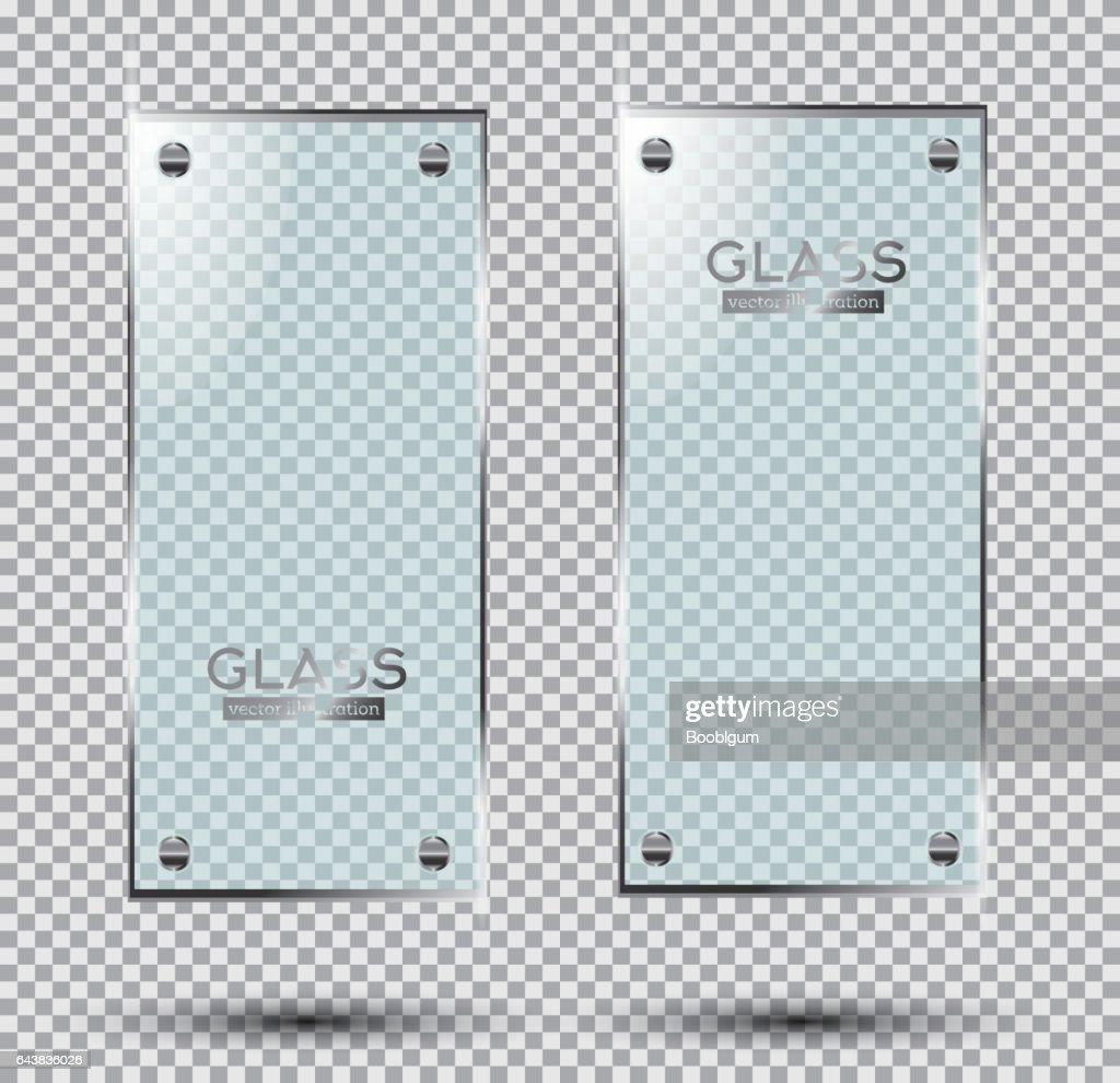 Two Glass Plates with Steel Rivets Isolated On Transparent Background.