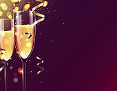 Two glasses of champagne on sparkling holiday background.