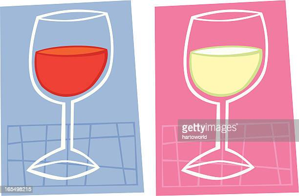 two glasses of wine - red wine stock illustrations, clip art, cartoons, & icons