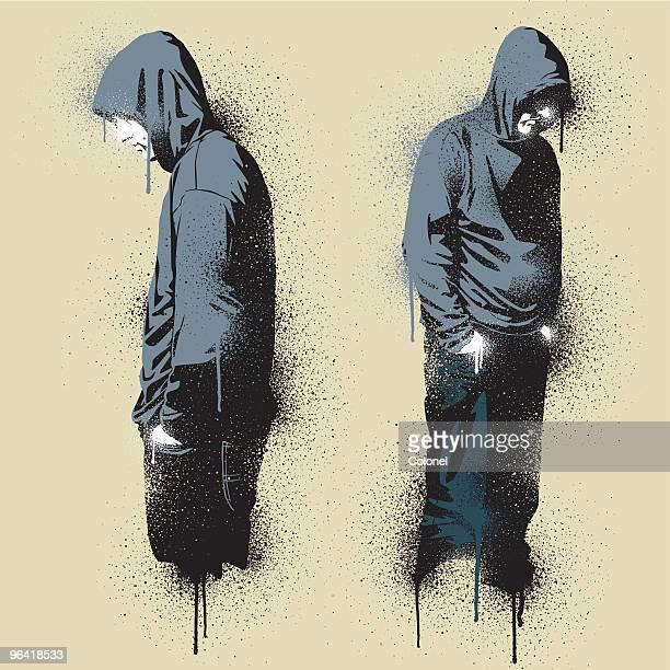 two graffiti stencil urban angst - hooded top stock illustrations