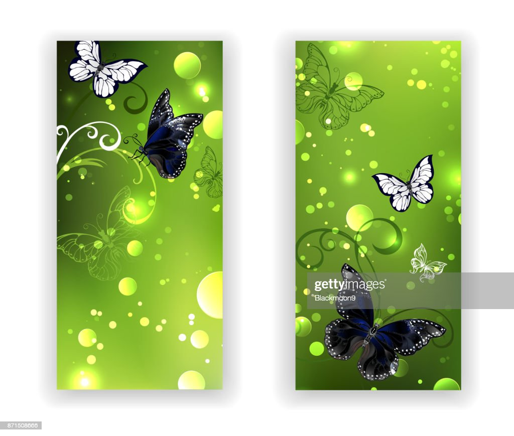 Two green banner with butterflies