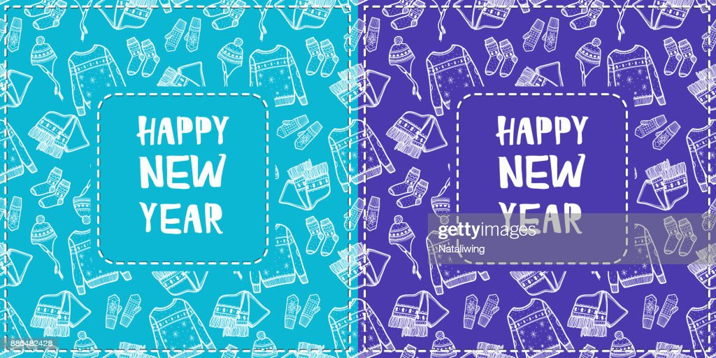 Two Greeting Cards With Hand Drawn Pattern New Years Clothes Elements White Outline On Bright