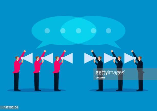 ilustrações, clipart, desenhos animados e ícones de dois grupos de homens de negócios que prendem o megafone que discute e que debatem - office politics