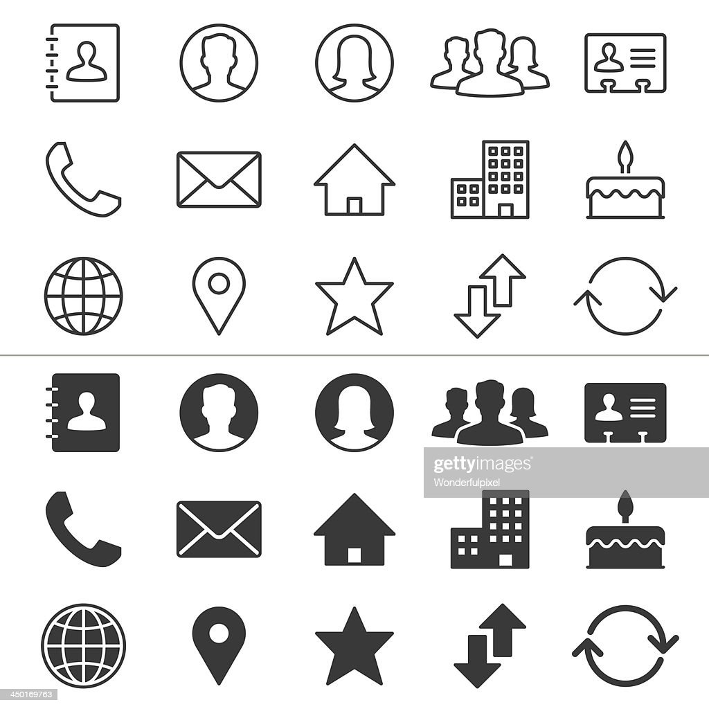 Two groups of fifteen icons representing contact