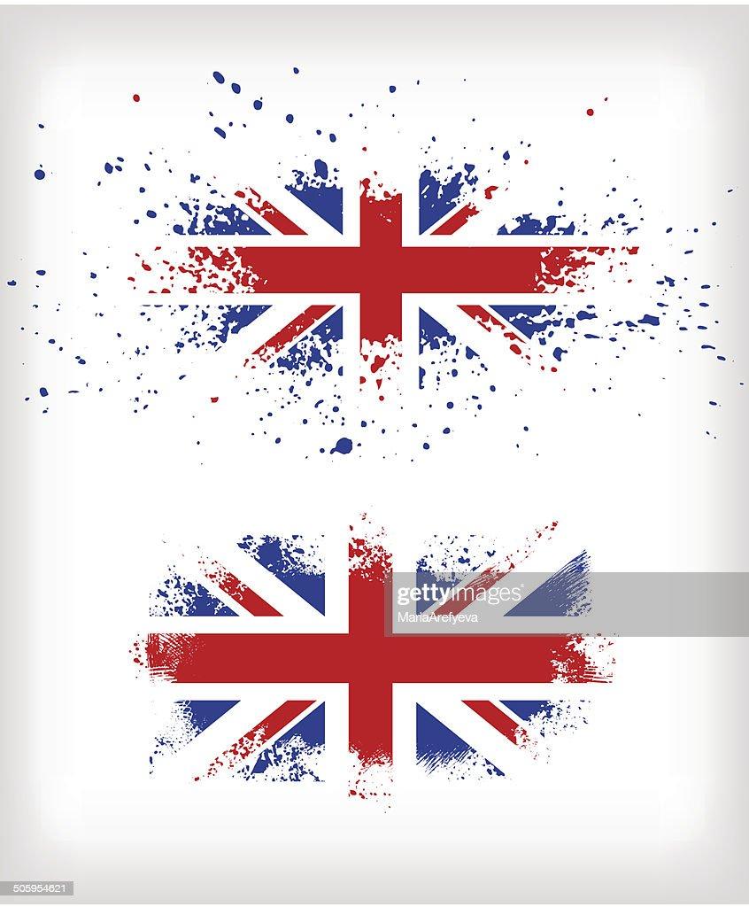 Two grunge British ink splattered flags