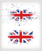 Two grunge British ink splattered flags