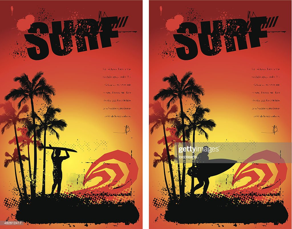 two grunge surf poster with sunset and surfer