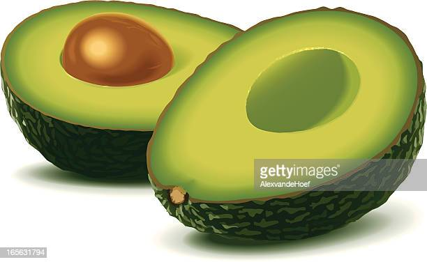 Two half avocados