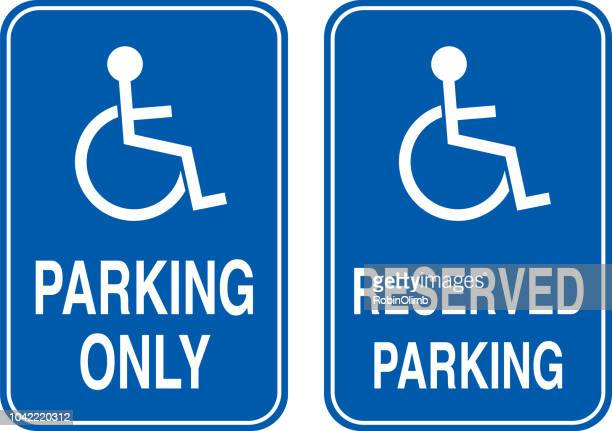 two handicapped parking signs - disabled sign stock illustrations, clip art, cartoons, & icons