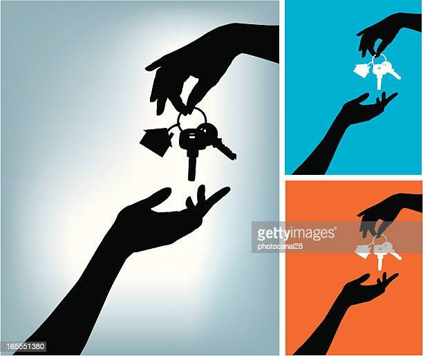 two hands and a home keys - human hand stock illustrations