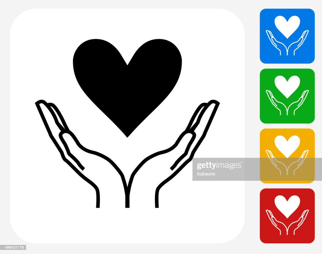 Two Hands Holding A Heart Icon Flat Graphic Design Vector ...