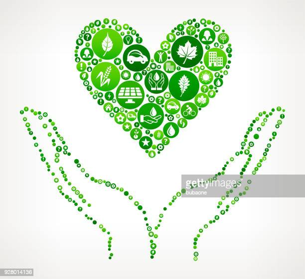 Two Hands Holding a Heart Nature and Environmental Conservation Icon Pattern