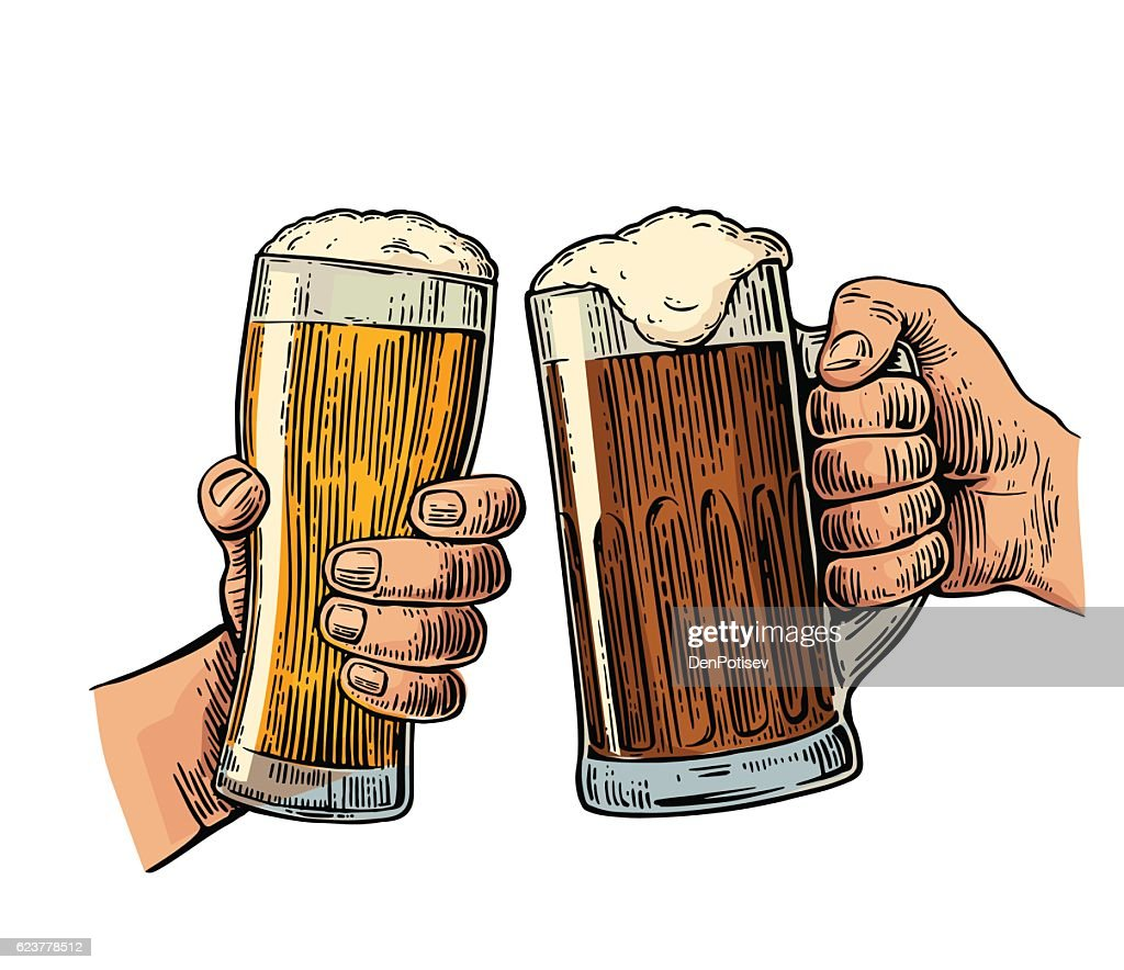 Two hands holding and clinking with two beer glasses mug