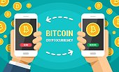 Two hands holding mobile phones with bitcoin cryptocurrency vector flat colored illustration. Bitcoins send and receive between smartphones