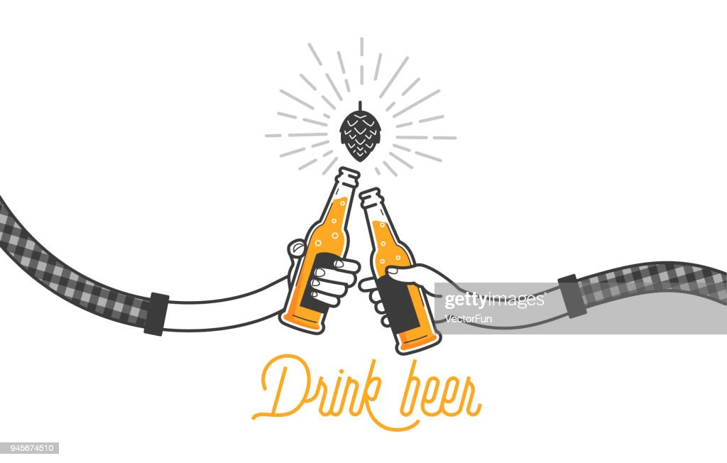Two hands holding two beer bottles. Clinking glasses in plaid shirt. Party celebration in a pub. Isolated vector illustration of two drunk person drinking beer on white background. Cheers mate