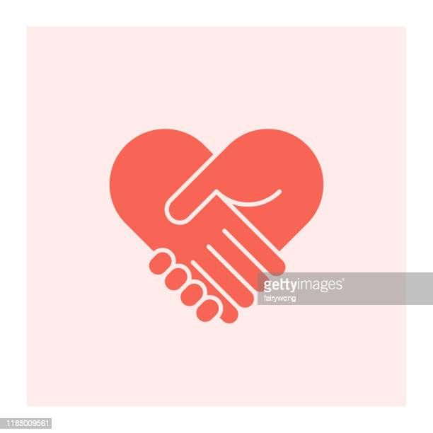 two hands in shape of heart - togetherness stock illustrations