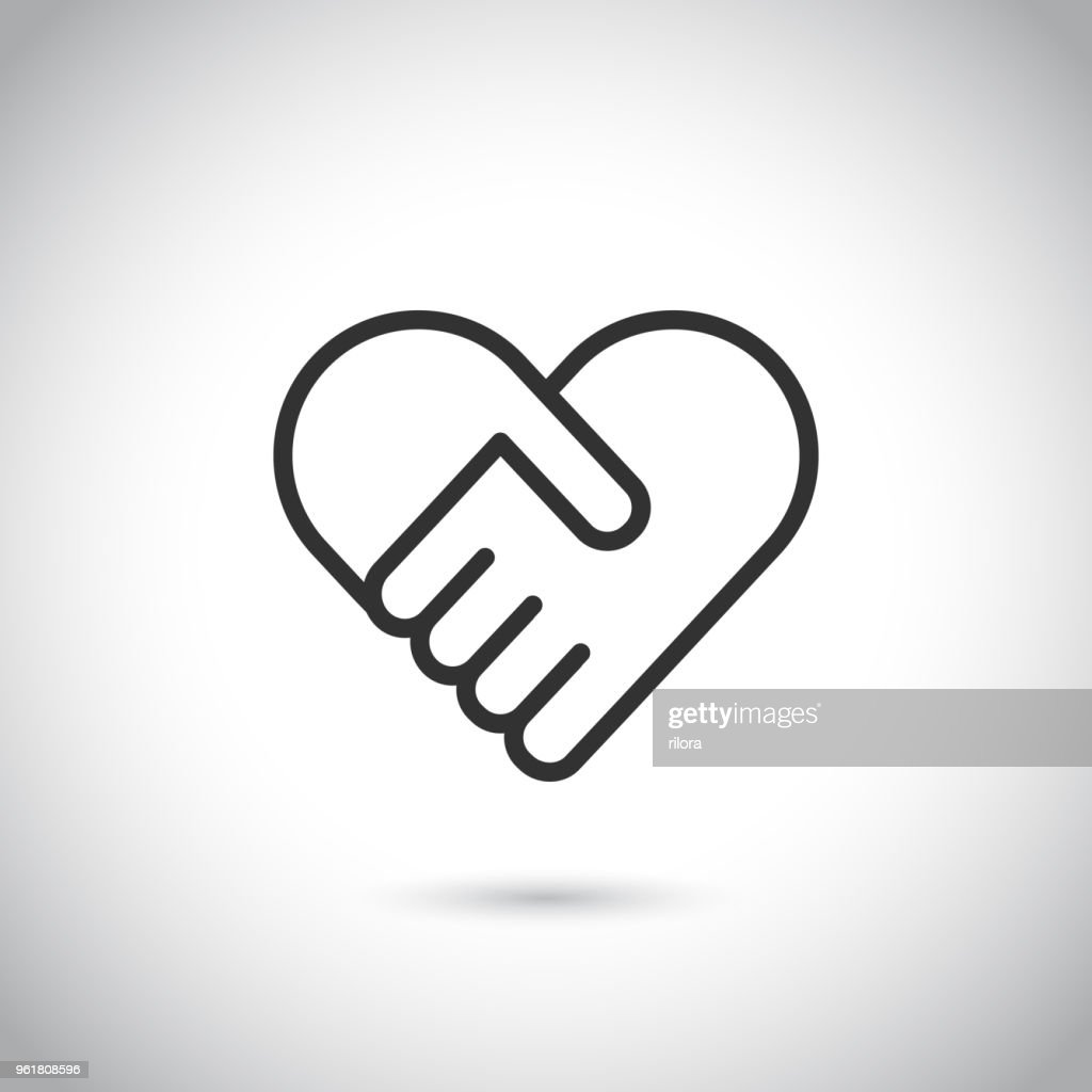 Two hands in shape of heart. Vector modern thin line icon.