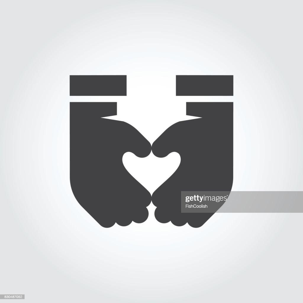 Two Hands Make Heart Shape Black Flat Icon Symbol Love Romance