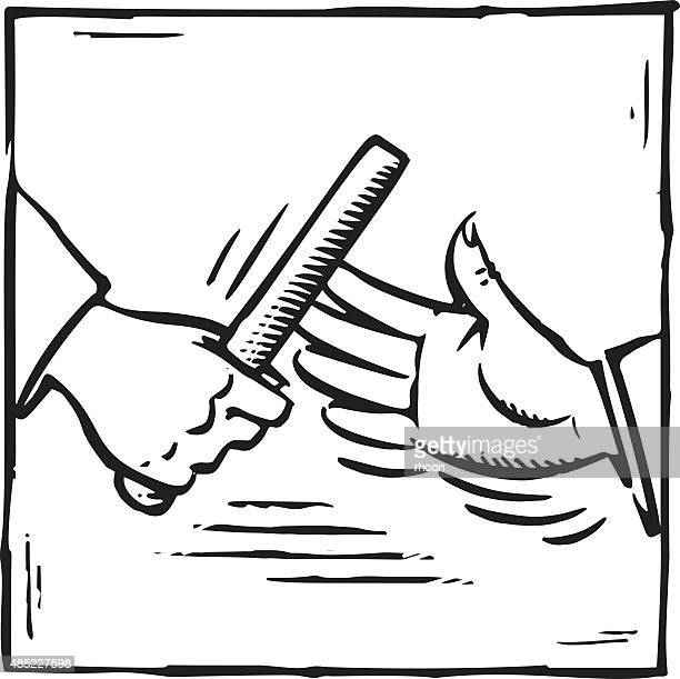 Two hands passing baton in retro style