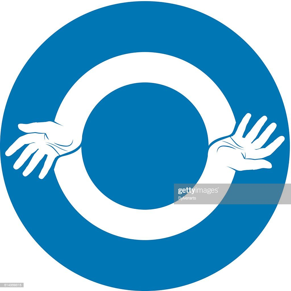 Two Hands Round Abstract Symbol Vector Vector Art Getty Images